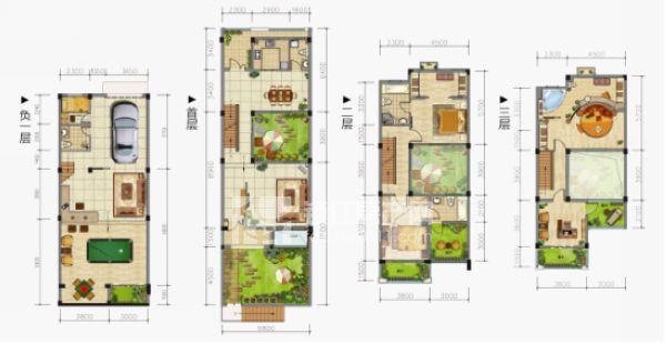 从功能分区方面来看,在户型平面上,以中庭和垂直交通楼梯等中间部分把客厅和餐厅做了一次空间上的划分,分别位于中庭的南北两侧,功能空间完全独立开。客人在客厅休息、聊天的时候,完全不会感受到厨房的油烟以及备餐的忙碌。而作为相对私密的卧室层,也因中庭的引入而使主次卧分离,各自独立,私密性增强。