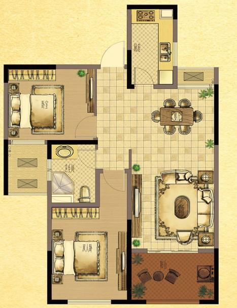 面积135平米,3+1房型,四房两厅