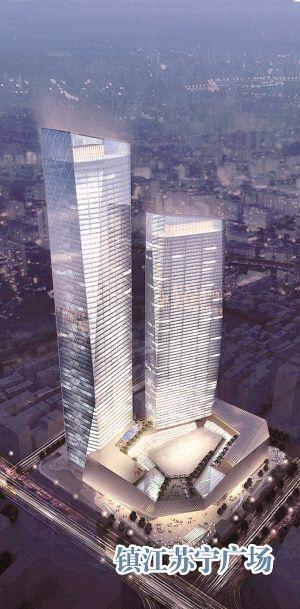 高225米;东塔77层,高338米,占据城市天际线,是镇江市目前最高地标性