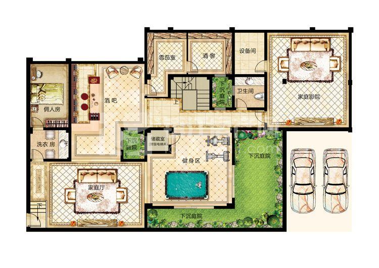 10# 12# 合院别墅b1户型(地下室)-325平米