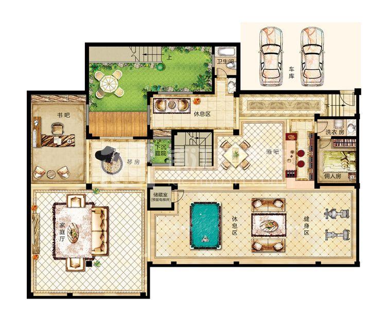 10# 12# 合院别墅b2户型(地下层)-325平米